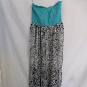 ROXY, medium, long dress, teal and black and white